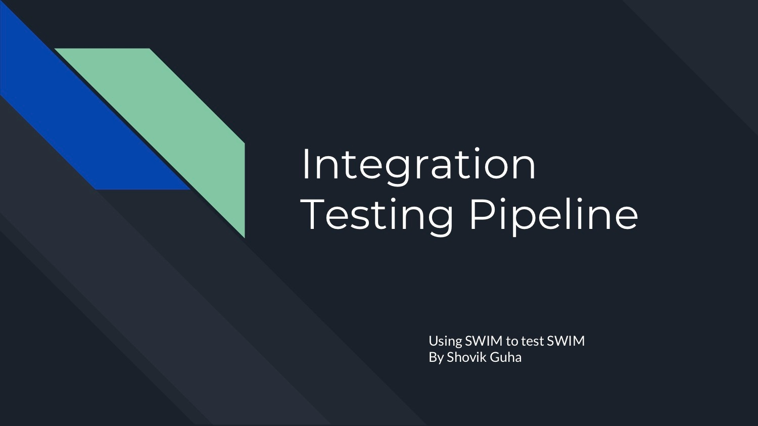 Shovik Guha SWIM Integration Testing Final Presentation Cover